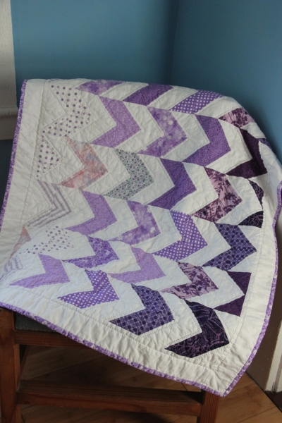 Purple Chevron Baby Quilt